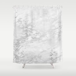 Light Grey Marble Silver Glitter Gray Shower Curtain
