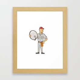 Cable TV Installer Guy Standing Framed Art Print