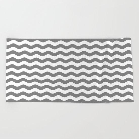 Wavy Stripes (Gray/White) Beach Towel