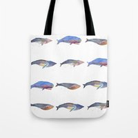 whales Tote Bags featuring Whales by Lene Daugaard
