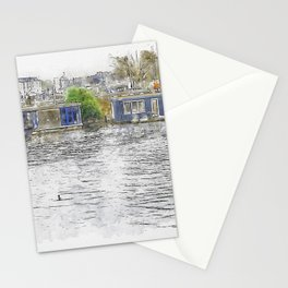 Houses in Amsterdam with reflections on the water, Netherlands Stationery Cards