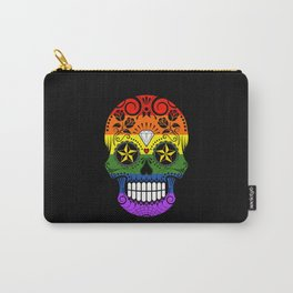 Gay Pride Rainbow Flag Sugar Skull with Roses Carry-All Pouch