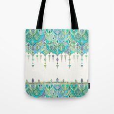 Art Deco Double Drop in Jade and Aquamarine on Cream Tote Bag