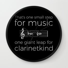 Crossing the break (clarinet) - white text for dark t-shirts Wall Clock