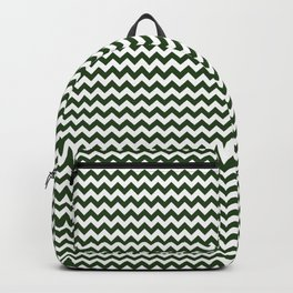Small Dark Forest Green and White Chevron Stripes Backpack