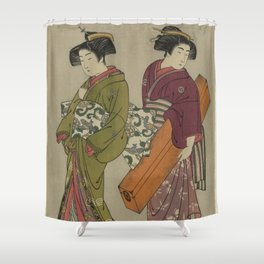Kitao Shigemasa (1777) Geisha and a servant carrying her shamisen box Shower Curtain