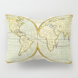 Vintage Map of The World (1787) Pillow Sham