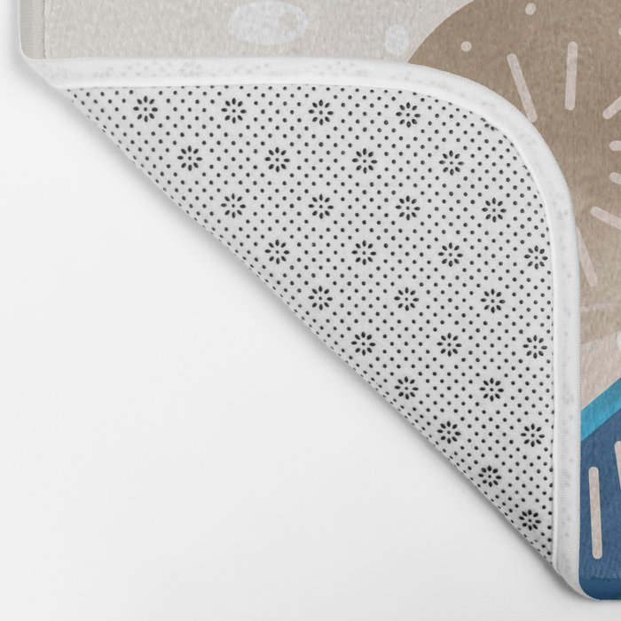 Abstract pattern brown blue . Bath Mat