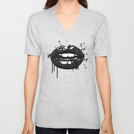 Black and white glamour fashion lips Unisex V-Neck