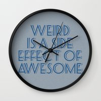 weird Wall Clocks featuring Weird by Jude's