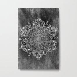 Mandala - Coal Metal Print