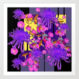 Purple Spider Mums Black & Grey Art Pink Flowers Art Print