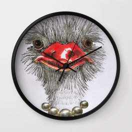 ostrich with single pearls Wall Clock
