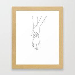 Hands line drawing illustration - Effie Framed Art Print