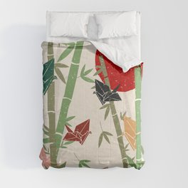 Calming Bamboo and Cranes  Comforters