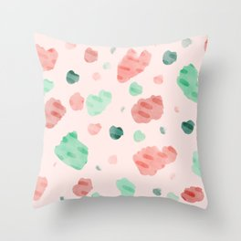 Pink Watercolor Brushstrokes Throw Pillow