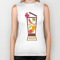 vegetable Biker Tanks featuring Vegetable smoothie by olillia