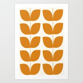 Mid Century Modern Leaves Orange Art Print