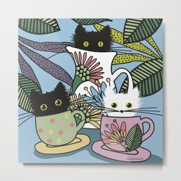 Tea Party of the Cats Metal Print