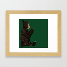 happy bear (green background) Framed Art Print