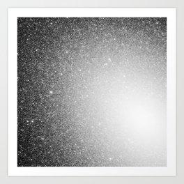 Galaxy Stars Ombre : Black Slate Gray Art Print