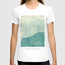 Santo Domingo Map Blue Vintage T-shirt