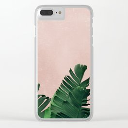 Banana Leaves on Pink Clear iPhone Case