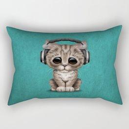 Cute Kitten Dj Wearing Headphones on Blue Rectangular Pillow