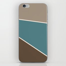 Diagonal Color Blocks in Browns and Teal iPhone Skin