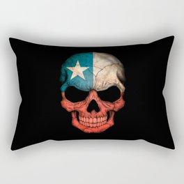 Dark Skull with Flag of Chile Rectangular Pillow