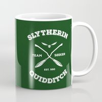 quidditch Mugs featuring Slytherin Quidditch Team Seeker: Green by Sharayah Mitchell