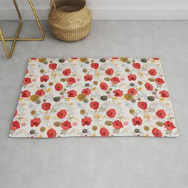 Jacque large print floral on gray Rug