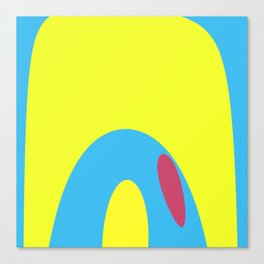 Nouveau Retro Graphic Yellow Blue and Red Canvas Print
