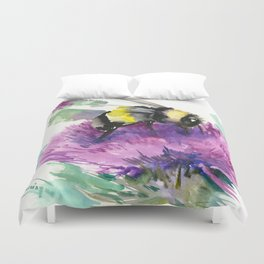 Bumblebee and Thistle Flower, honey bee floral Duvet Cover
