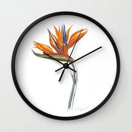 Bird of Paradise 01 Botanical Flower Wall Clock