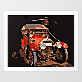 Vintage Red Car Art Print