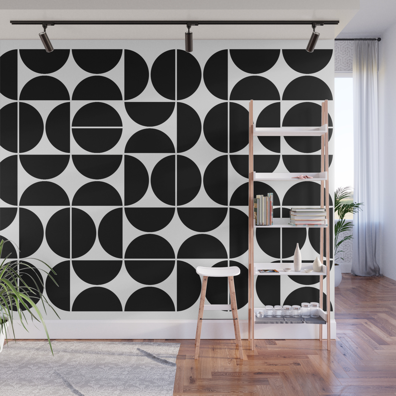 Image of: Mid Century Modern Geometric 04 Black Wall Mural By Theoldartstudio Society6