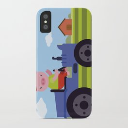 Pig on Tractor iPhone Case