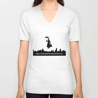 mary poppins V-neck T-shirts featuring mary poppins by cubik rubik