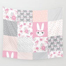 Bunny quilt baby decor newborn nursery charlotte winter pink grey decor for little girl Wall Tapestry