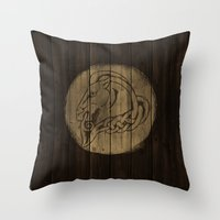 skyrim Throw Pillows featuring Shield's of Skyrim - Whiterun by VineDesign