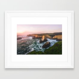 Golden California Coastline - Santa Cruz, California Framed Art Print