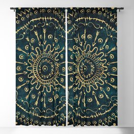 Geometric tribal gold mandala Blackout Curtain