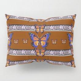 COFFEE BROWN BLUE MONARCHS BUTTERFLY BANDS ART Pillow Sham