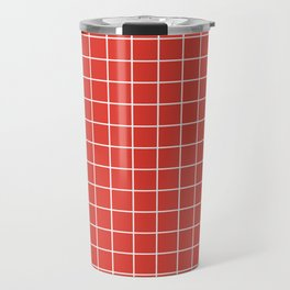 CG red - red color -  White Lines Grid Pattern Travel Mug