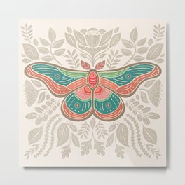 Moth Floral | Multicolor Metal Print