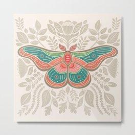 Moth Floral   Multicolor Metal Print