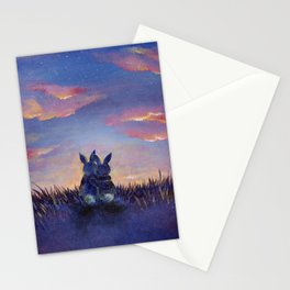 Snuggle Bunnies at Sunset Stationery Cards
