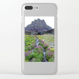 Mountain Wildflowers Lined Stream Clear iPhone Case