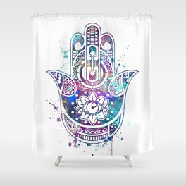 Hamsa Hand Watercolor Poster Wedding Gift Shower Curtain